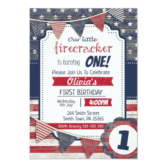 4th July Themed Birthday Invitation Fourth Of July Patriotic Patriot Redwhiteandblue R With Images Birthday Invitations Invitations Independence Day Theme