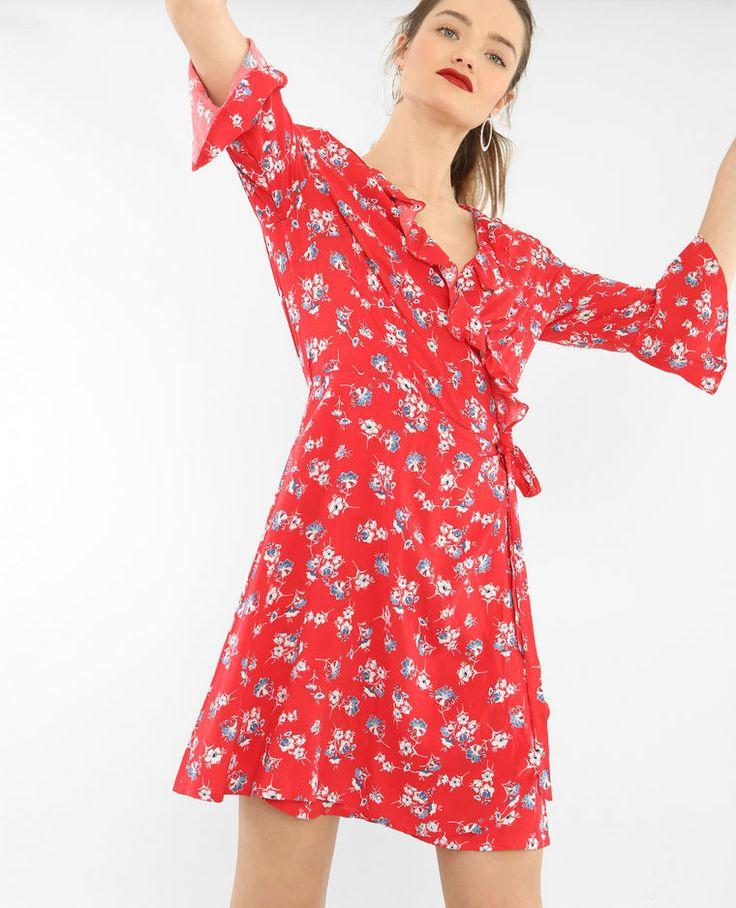 Pimkie - Robe portefeuille volantée rouge - taille l - 36€