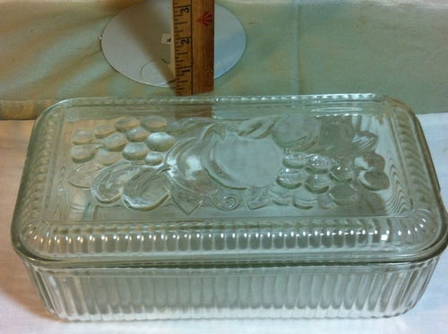 Depression glass refrigerator dish...