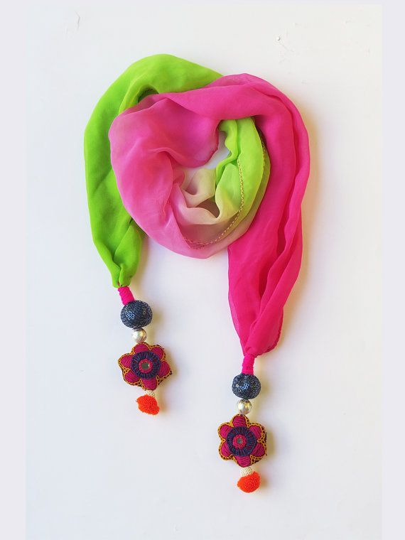 Green Pink multi colorful Handmade Scarf by iThinkFashion on Etsy, $27.00