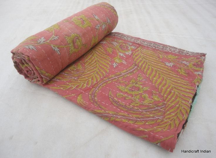 Beautiful Reversible Quilt Vintage Bedspread Decorative Kantha Gudari Art A-1131 #Handmade #Traditional