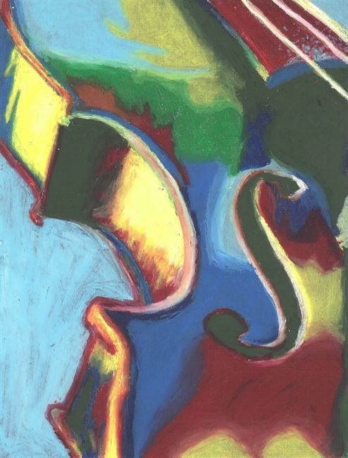 Expressive Color And Musical Instruments In Oil Pastels