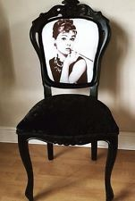 French Louis Chair - crushed velvet - audrey hepburn