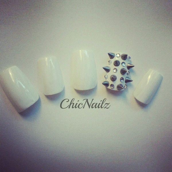 Rhinestone Studded Spiked 3D Nail Art Tips ($15) ❤ liked on Polyvore
