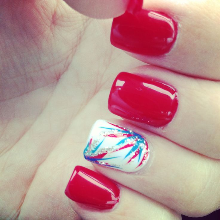 """4th of July Nails - wonder if I could flip the accent nail: deep night sky blue, with white, red, and silver """"fireworks""""?"""
