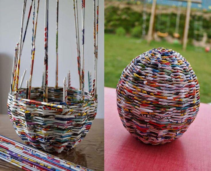 Huevo con revistas recicladas - recycled magazines egg http://calabashbazaar.blogspot.co.uk/search/label/upcycling%20-%20upcykling