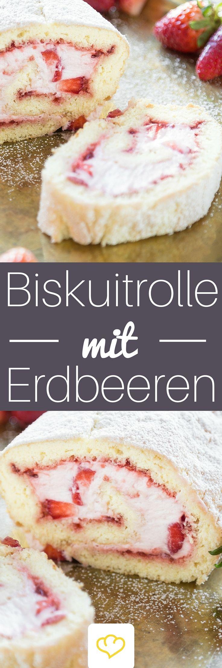 Mit Sahne und Erdbeeren gefüllt – so mögen wir unsere Biskuitrolle am liebsten. Ein bisschen fruchtig und ein bisschen cremig. Und ganz besonders lecker.