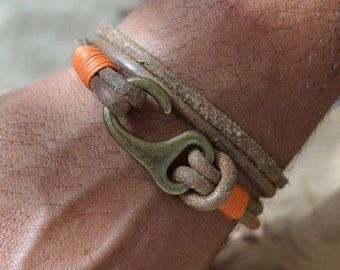 Men's leather bracelet. Mens bracelet. Men accessories. Brown leather cuff men's bracelet with silver plated clasp
