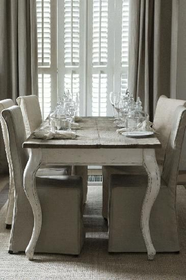 Gorgeous .french country dining table & chairs + drapery & shutters .