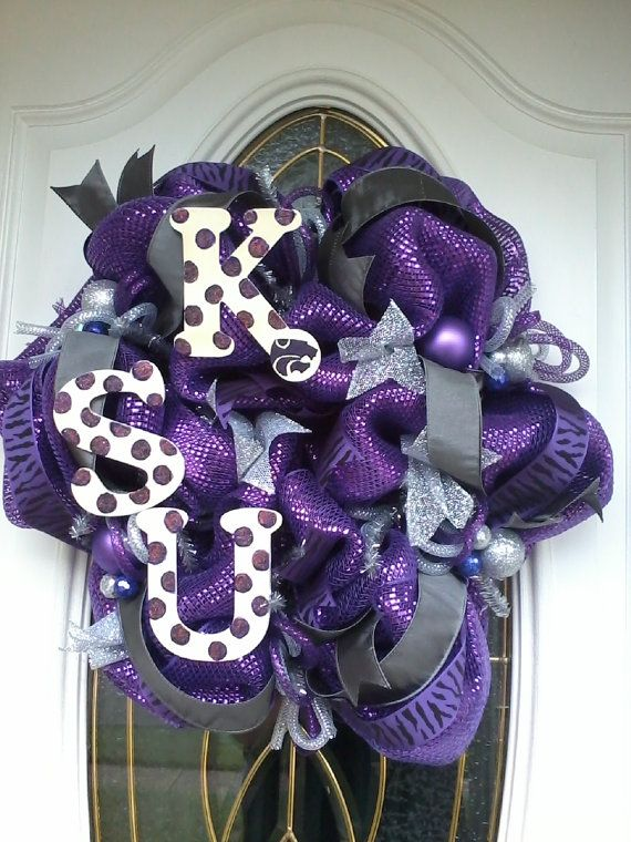 K-State mesh wreaths | Kansas State Wildcats Deco Mesh Wreath by Dudlebugs on Etsy