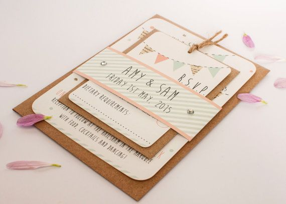 Peach and mint wedding invitation  bunting gem by normadorothy, £4.00
