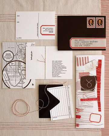 Love the maps in this red, brown and white #wedding suite