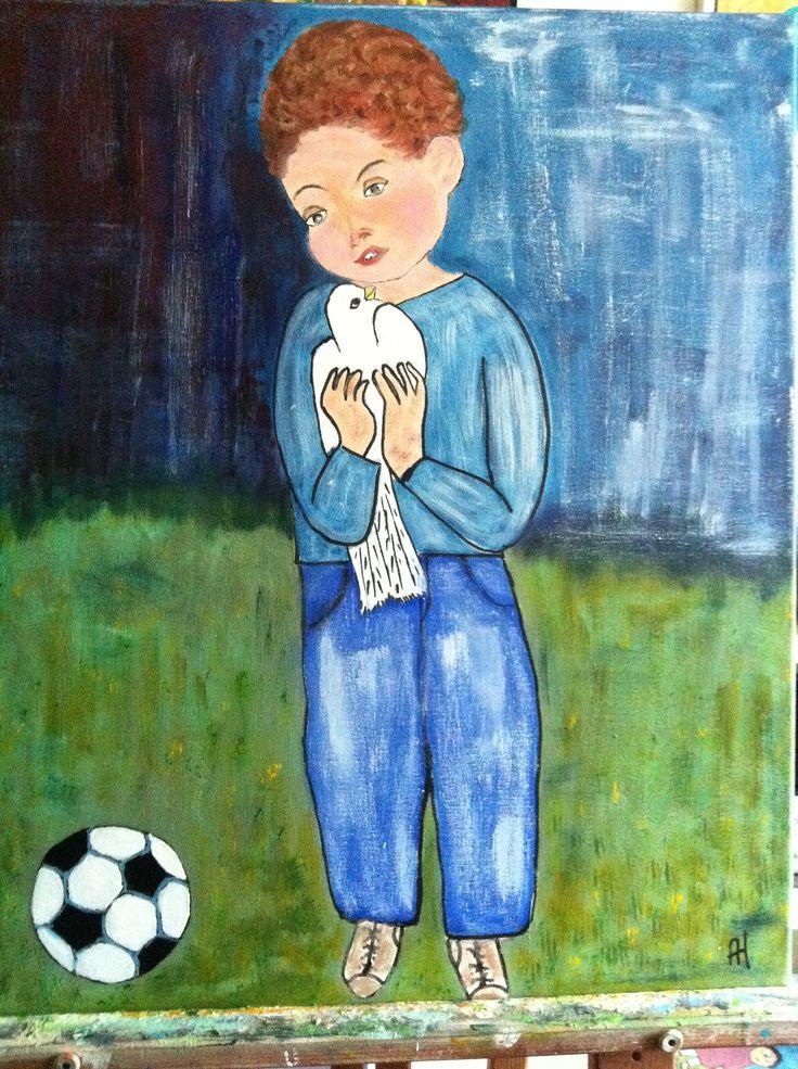Parafrase over Picasso Pige med due 60 x 50  udstillet i Smørum Kulturhus