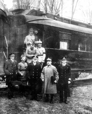 This photograph was taken in the forest of Compiègne after reaching an agreement for the armistice that ended World War I. This railcar was given to Ferdinand Foch for military use by the manufacturer, Compagnie Internationale des Wagons-Lits. Foch...