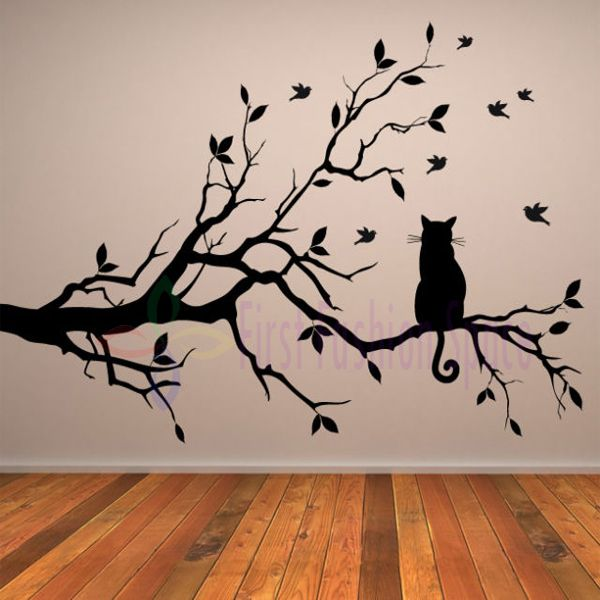 Free shipping large size70h106w cm cat on long tree branch wall sticker