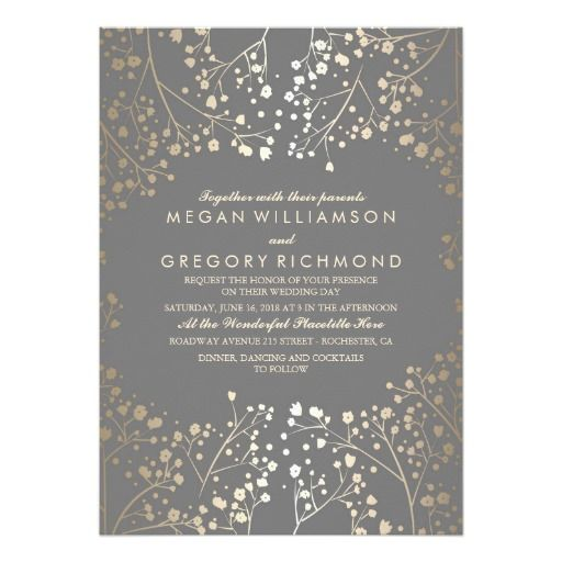 Faux Gold Foil Baby's Breath Wedding Invitations