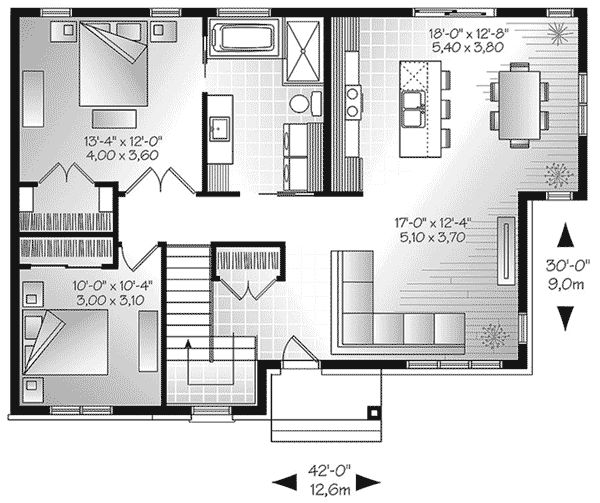 The Lettie Modern Ranch Home has 2 bedrooms and 1 full bath. See amenities for Plan 032D-0829.