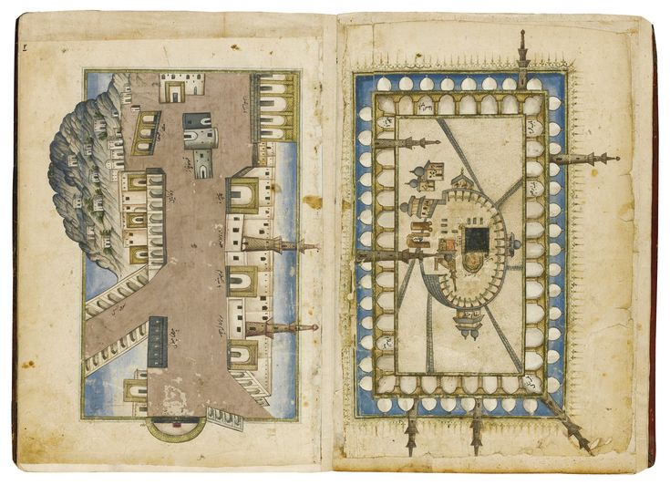 A BOOK OF HAJJ ILLUSTRATIONS, PROBABLY TURKEY, OTTOMAN, 18TH CENTURY gouache on paper, 11 leaves plus 3 flyleaves, comprising 6 full page and 9 quarter or half page illustrations of Mecca, Medina and the surrounding sites related to the Hajj, text boxes left blank, illustrations with various annotations, 'Allah' written on final page in large letters, red leather binding with tooled floral decoration 27.5 by 19.3cm