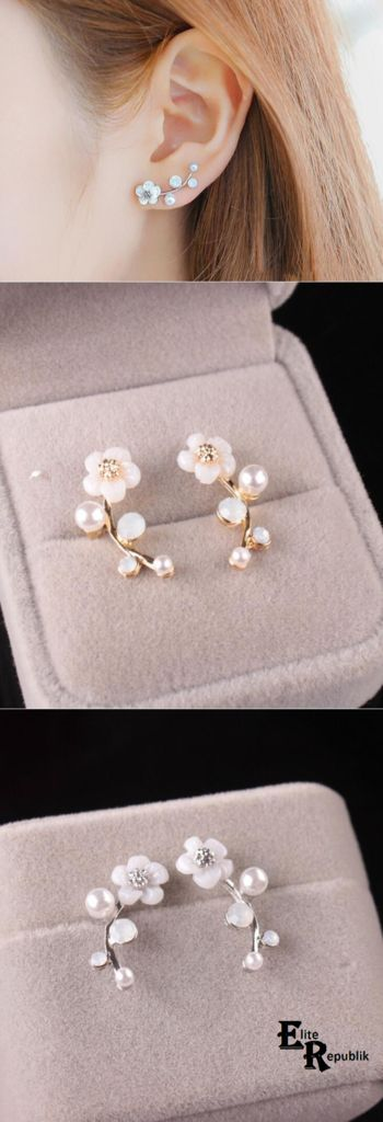 【$ 6.24】 925 Sterling Silver Leaves Shell Flower Earrings
