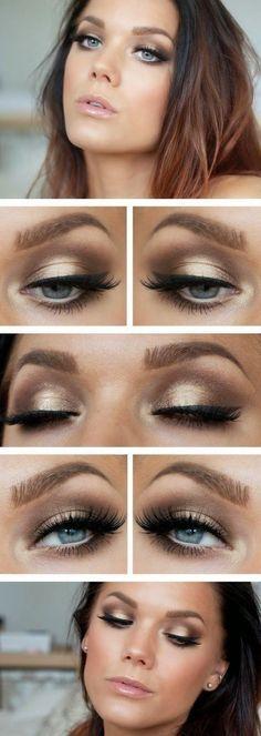 Makeup Look: False eyelashes with a neutral/champagne smokey eye