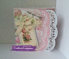Fancy edge card made using Sara Signature Shabby Chic collection – Designed by Mary Trainer #crafterscompanion#shabbychic