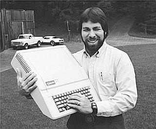 Steve Wozniak of Apple Computer, Inc. in the late 1970s with an Apple II model personal computer.