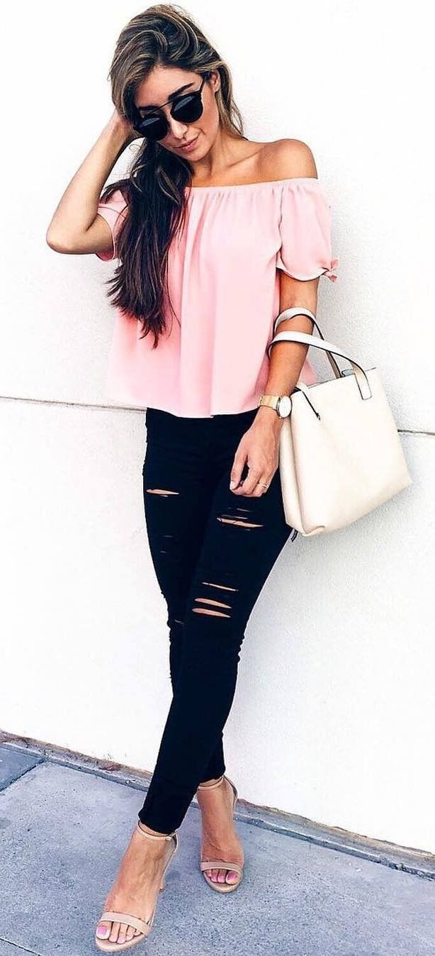 summer outfits  Pink Off The Shoulder Top + Black Ripped Skinny Jeans