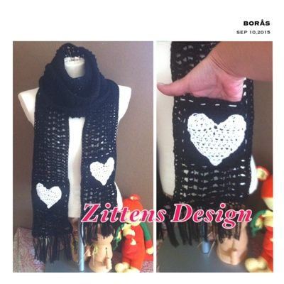 crochet, scarf, halsduk, fickor
