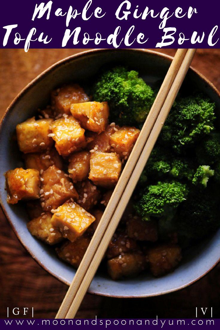 Sticky Maple Ginger Tofu Noodle Bowl (Vegan, Gluten-Free)