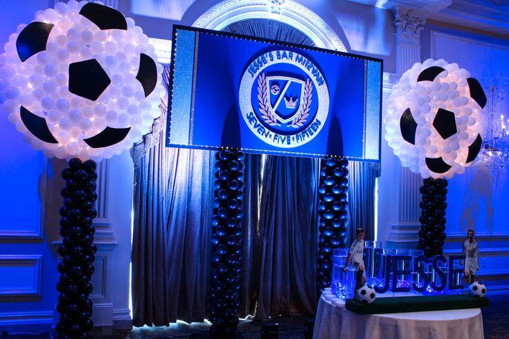 Soccer Themed Bar Mitzvah Backdrop Soccer Themed Bar Mitzvah Backdrop with Custom Logo, Lights & Soccer Ball Balloon Sculptures