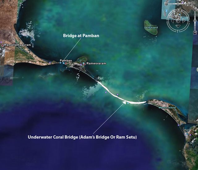 The NASA Shuttle has imaged a mysterious ancient bridge between India and Sri Lanka. The bridge was purportedly passable on foot until 1480 AD when a cyclone moved the sand around.