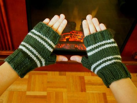 Harry Potter Inspired Slytherin Fingerless Gloves - Texting Gloves Wristwarmers - Green and Silver Grey Stripes Hand Knit Fingerless Mittens