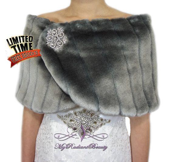 Wedding Fur Wrap Faux Fur Wrap Gray Faux Fur by MyRadiantBeauty