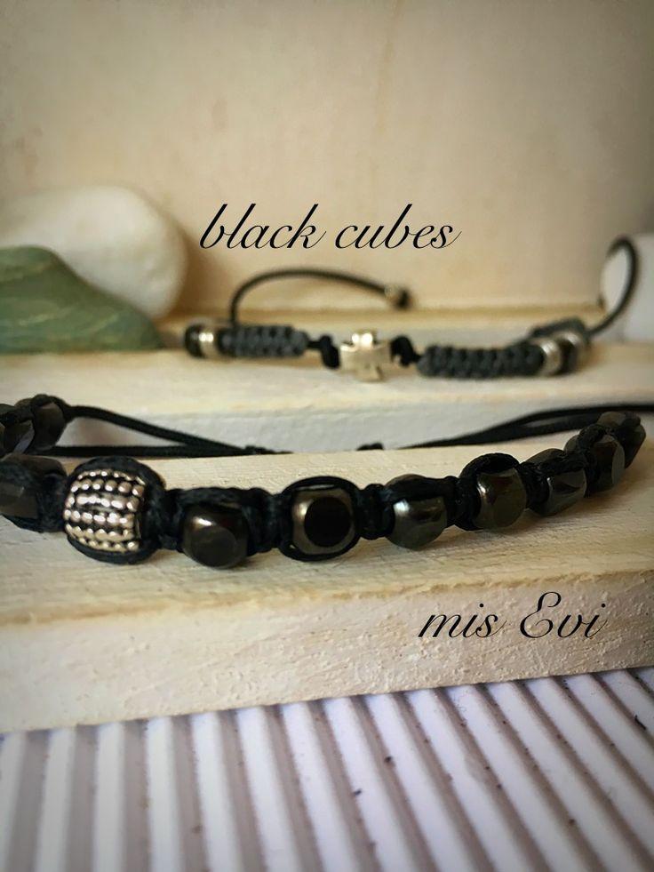 Black cubes handmade bracelets