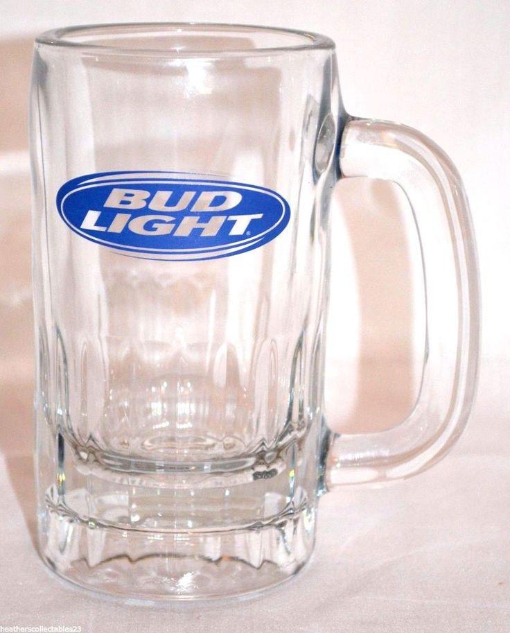 VINTAGE BUD LIGHT BEER GLASS MUG with Handle ~ Blue Logo ~ Bar Pub Man Cave  #Budweiser