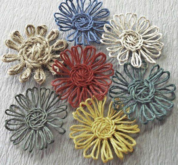 Цветы из джута, связанные по шаблону. Чем заменить луму источник