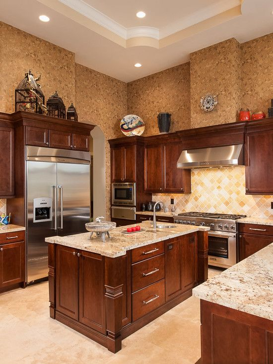 Mediterranean Kitchen With Elegant Dark Wood Kitchen Cabinets Also Elegant  Countertop With Beige Granite Countertop Also Comely Tiling Wall Design  Also ...