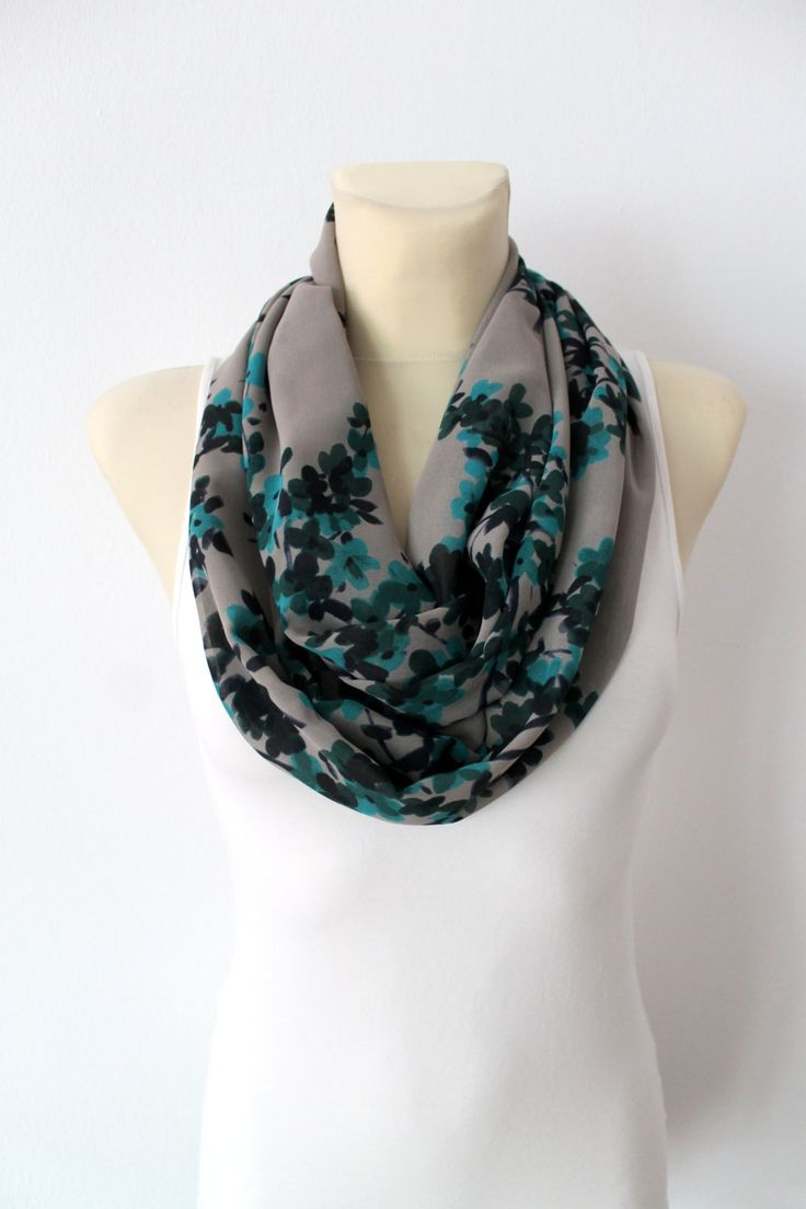 Infinity Floral Scarf - Women Fashion Scarf - Printed Loop Scarf - Gray Circle Scarf - Women Shawl - Tube Unique Scarf -Fabric Scarf - pinned by pin4etsy.com