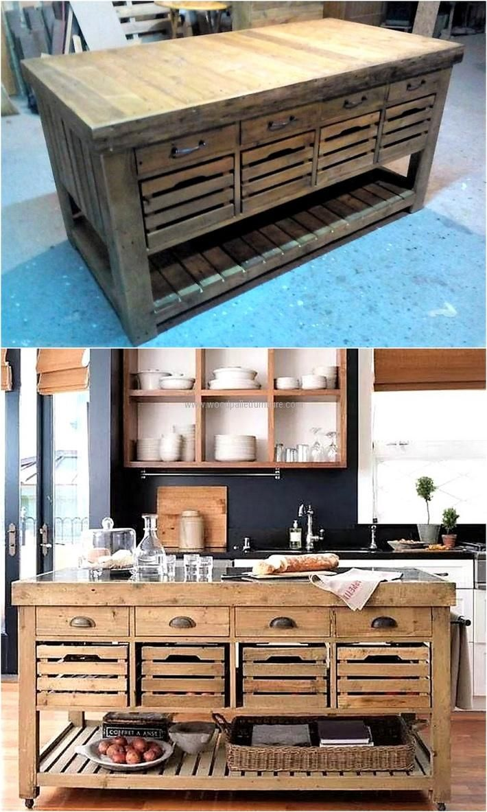 Now here is an impressive idea for the kitchen, this wood pallet kitchen cabinet contains 3 different sizes of storage space. Drawers are perfect to place the kitchen utensils and the remaining space can be used for placing the crockery.