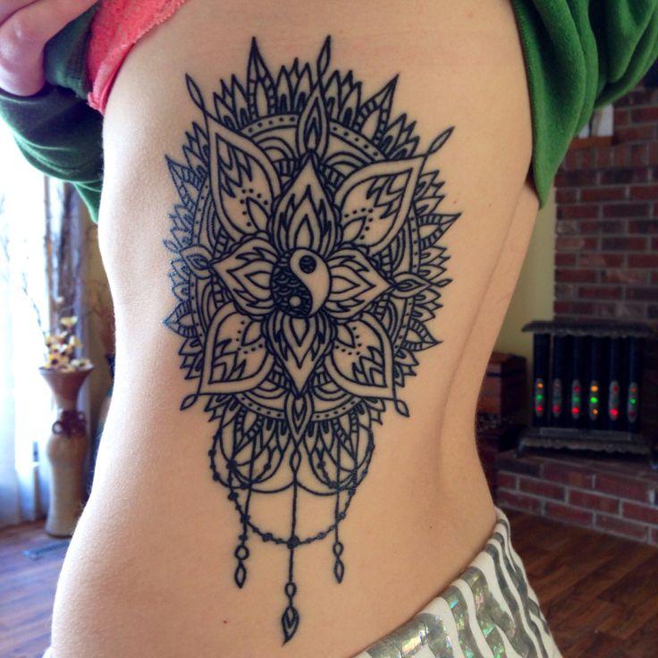 Tattoo; my third tattoo; mandala yin-yang rib tattoo