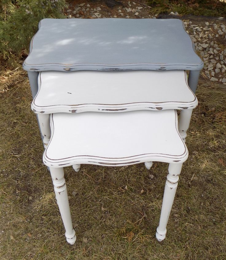 Nesting tables painted with Country Chic paint