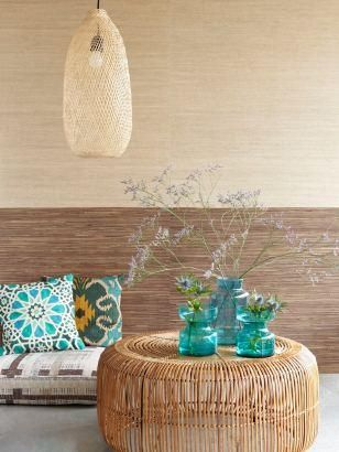 Natural Wallcoverings: Textuur op je muur met grasscloth, heel natuurlijk en mooi voor in een slaapkamer bv.