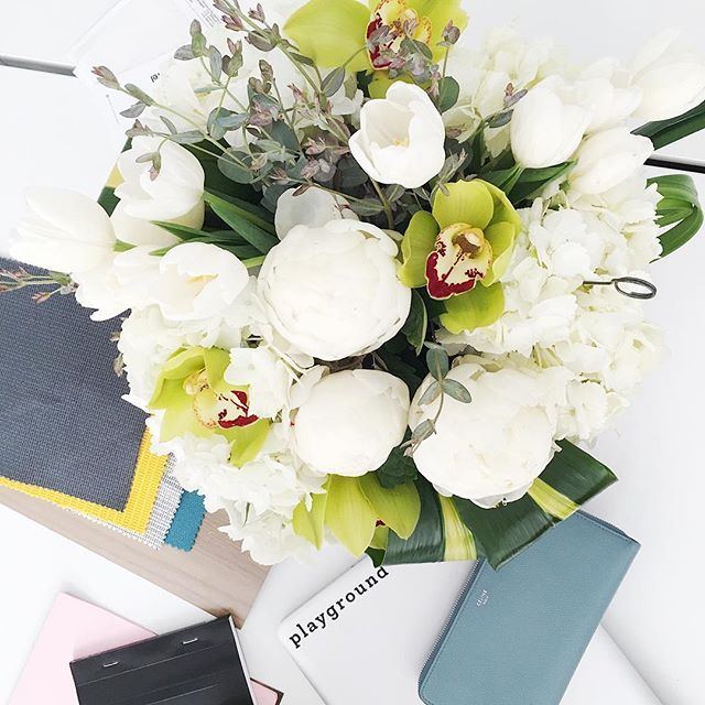 fridays are better when we get surprise flower deliveries at the office #playground #sandiego #architecture #branding #graphicdesign #flowers #peonies #flowerporn #workspace #workhardplayhard #inspiration #styling