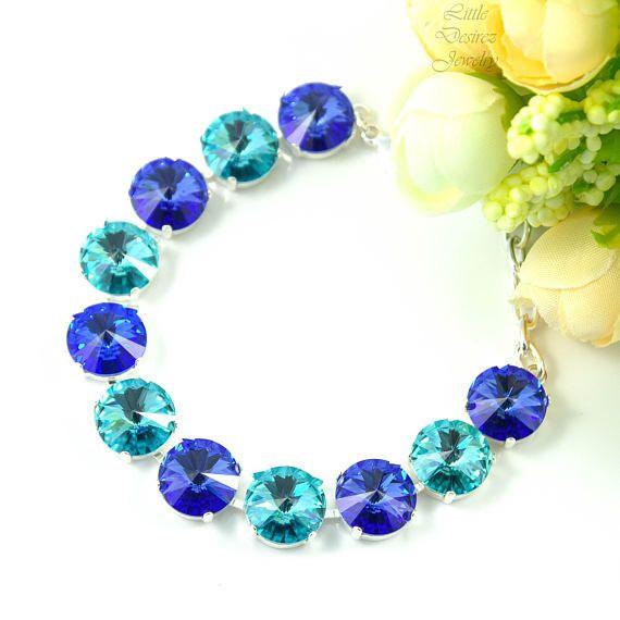 Blue Bridal Bracelet,Swarovski Crystals, More Colors Available