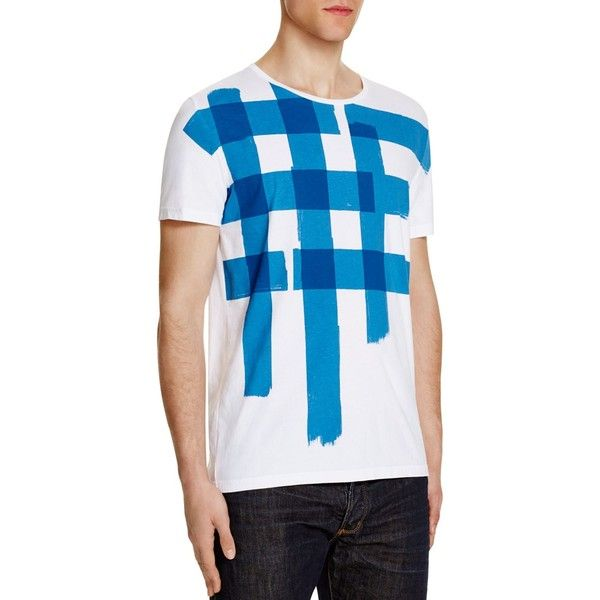 Burberry Brit Ashendale Graphic Tee ($215) ❤ liked on Polyvore featuring men's fashion, men's clothing, men's shirts, men's t-shirts, mens white shirt, burberry mens t shirt, burberry mens shirts, mens blue shirt and mens white t shirts