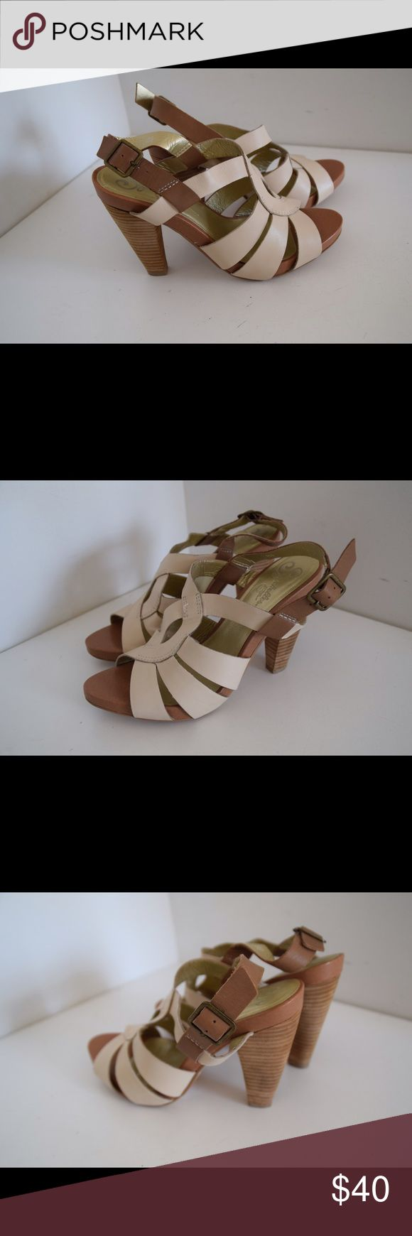 "Seychelles chunky heeled sandals Seychelles heeled sandals Leather upper. Off white/cream color. 8 1/2. Chunky heels 4"" Very little wear to soles (pic). In excellent condition! Seychelles Shoes Sandals"