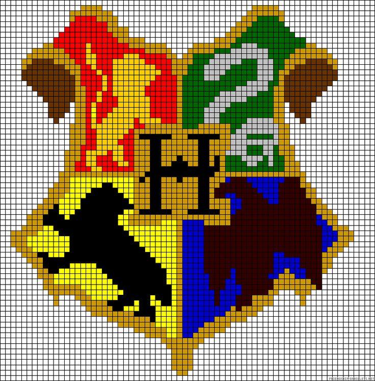 Harry Potter Hogwarts crest perler bead pattern
