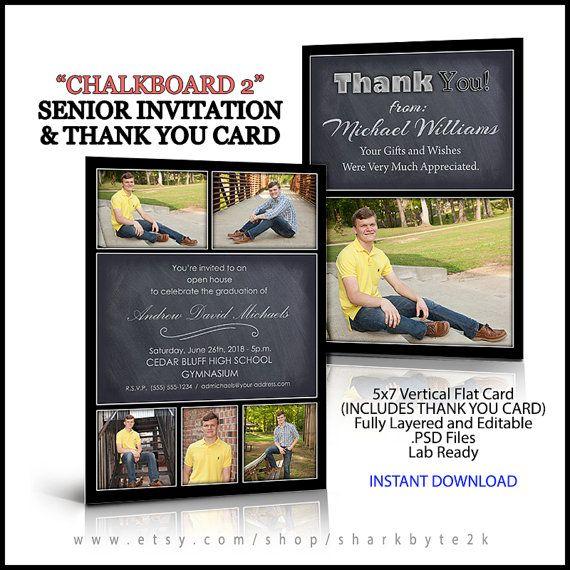 free senior templates for photoshop - 2017 invitation and thank you card for senior graduation