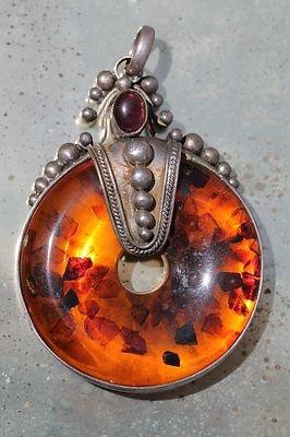 Large Vintage 925 Sterling Silver  Baltic Honey Amber Amethyst Modernist Pendant