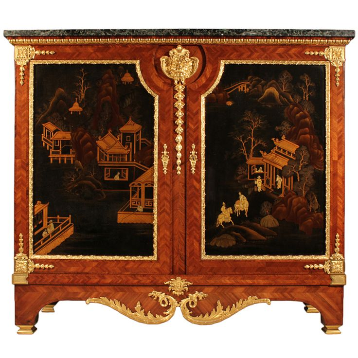 French 19th century Louis XVI st., cira 1880, tulipwood and ormolu black Japanese lacquer two door Meuble à Hauteur d'Appui.